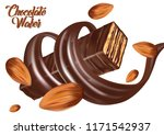 wafer chocolate bar and almond... | Shutterstock .eps vector #1171542937