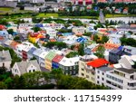 reykjavik city aerial view of...