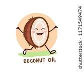 coconut oil logo. organic... | Shutterstock .eps vector #1171549474