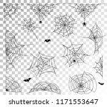 spider web set on transparent... | Shutterstock .eps vector #1171553647