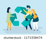 character of people holding a...   Shutterstock .eps vector #1171558474