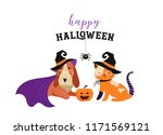 happy halloween   cats and dogs ... | Shutterstock .eps vector #1171569121