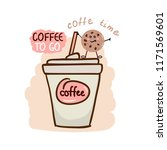 cup of coffee with cookie  idea ... | Shutterstock .eps vector #1171569601
