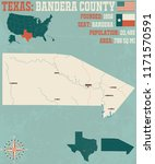 detailed map of bandera county... | Shutterstock .eps vector #1171570591