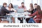 business team discussing... | Shutterstock . vector #1171577011