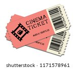 two cinema tickets isolated on... | Shutterstock .eps vector #1171578961