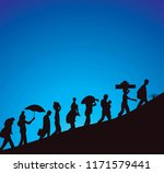 refugee silhouette illustration | Shutterstock .eps vector #1171579441