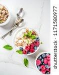 healthy snack or breakfast idea ... | Shutterstock . vector #1171580977