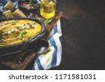 pumpkin parmesan soup wit... | Shutterstock . vector #1171581031