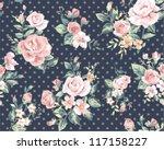 seamless pink vintage flower... | Shutterstock .eps vector #117158227