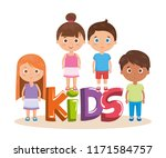 group of little kids with word... | Shutterstock .eps vector #1171584757