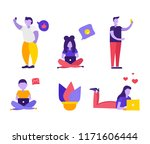 set of people chatting in... | Shutterstock .eps vector #1171606444