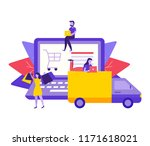 online store delivery concept.... | Shutterstock .eps vector #1171618021