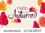 hello autumn. colorful poster... | Shutterstock .eps vector #1171618957