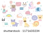 cute pastel animal icon with... | Shutterstock .eps vector #1171633234