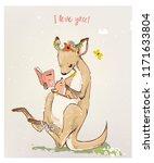 Stock vector kangaroo with little baby 1171633804