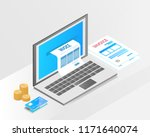 accounting system  isometric... | Shutterstock .eps vector #1171640074