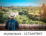 young man traveling backpacker... | Shutterstock . vector #1171647847