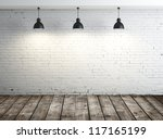 white brick room with ceiling... | Shutterstock . vector #117165199