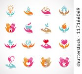 Vector set with signs of love and care - collection with  icons for abstract logo | Shutterstock vector #117166069
