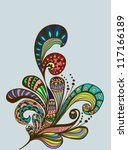 Doodle color floral background, illustration for your design, vector - stock vector