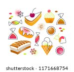 flat cartoon sweets and cakes... | Shutterstock .eps vector #1171668754