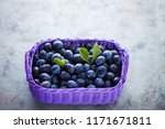 basket full of delicious plums  ... | Shutterstock . vector #1171671811