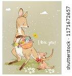mom kangaroo with little baby...   Shutterstock .eps vector #1171672657