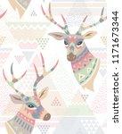 heads of deers decorated... | Shutterstock .eps vector #1171673344