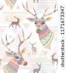 heads of deers decorated... | Shutterstock .eps vector #1171673347