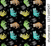seamless halloween pattern with ... | Shutterstock .eps vector #1171689247