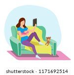 a young mother on the couch... | Shutterstock .eps vector #1171692514