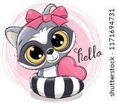 cute cartoon raccoon with heart ... | Shutterstock .eps vector #1171694731