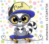 cute raccoon with a blue and... | Shutterstock .eps vector #1171694734
