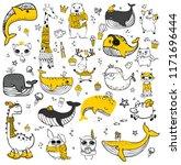 vector set of cute doodle... | Shutterstock .eps vector #1171696444