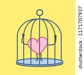 heart locked in cage. vector... | Shutterstock .eps vector #1171707937