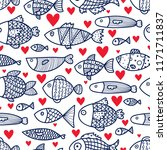 lovers of fish. cute vector... | Shutterstock .eps vector #1171711837