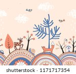 cute doodle seamless pattern... | Shutterstock .eps vector #1171717354