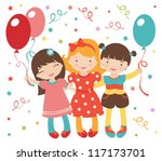 an illustration of happy little ... | Shutterstock .eps vector #117173701