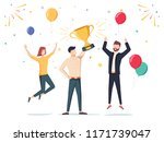 win achievement. happy company... | Shutterstock .eps vector #1171739047