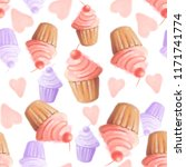 seamless pattern of muffins... | Shutterstock . vector #1171741774