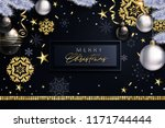 glam christmas cadr with white... | Shutterstock .eps vector #1171744444