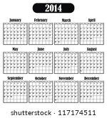 vector   calendar 2014 | Shutterstock .eps vector #117174511