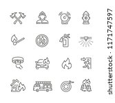 Fire Related Icons  Thin Vecto...