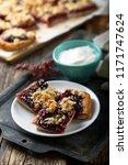 cherry streusel bars | Shutterstock . vector #1171747624