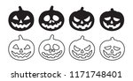 pumpkin vector halloween icon... | Shutterstock .eps vector #1171748401