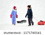 childhood  sledging and season... | Shutterstock . vector #1171760161