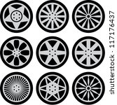 set of nine black wheels... | Shutterstock .eps vector #117176437
