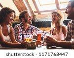 happy friends having fun at bar ...   Shutterstock . vector #1171768447