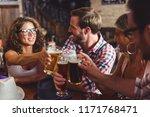 happy friends having fun at bar ... | Shutterstock . vector #1171768471
